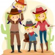Stock Photo: Cowboy Family