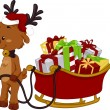 Reindeer Pulling Sled Full of Gifts — Stock Photo #7892682