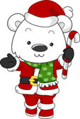 Polar Bear Santa — Stock Photo
