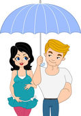 Pinup Couple Expecting a Baby — Stock Photo