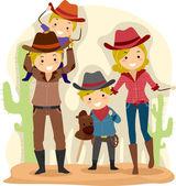 Cowboy Family — Stock Photo