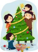 Family Christmas Tree — Stock Photo