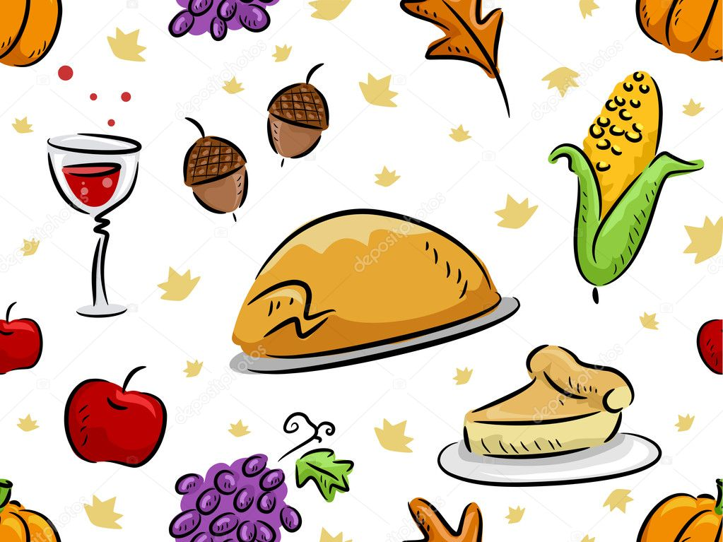 Background Illustration Featuring Thanksgiving Related Items — Stock Photo #7892574