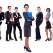 Stock Photo: Business woman student leading a team