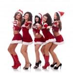 Inviting santa women — Stock Photo