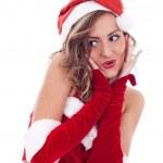 Surprised christmas woman — Stock Photo