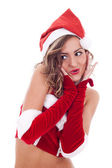 Surprised christmas woman — Stock Photo