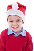 Laughing santa boy — Stock Photo