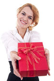 Young woman offering a present — Stock Photo