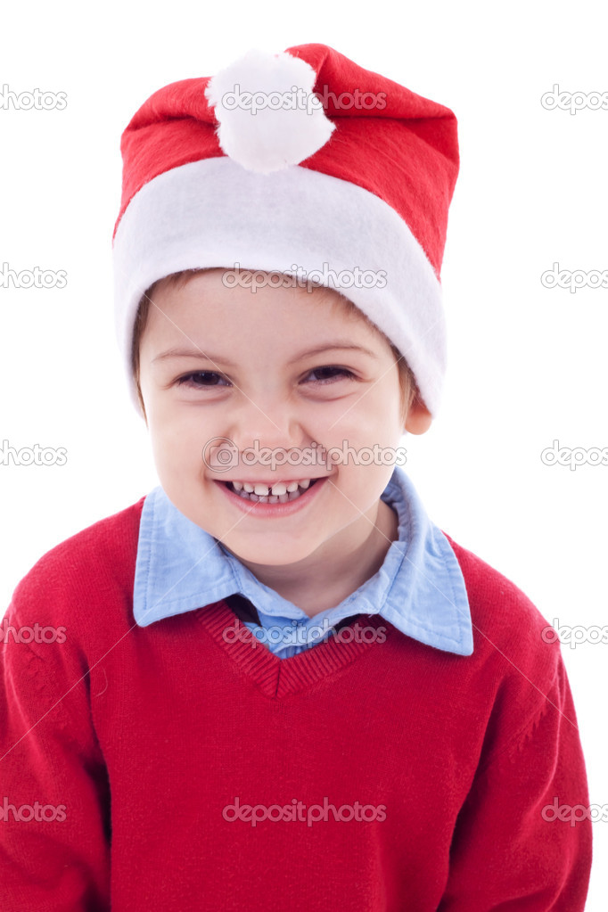 可爱儿童与圣诞老人的帽子