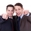 Businesss men pointing to you — Stock Photo