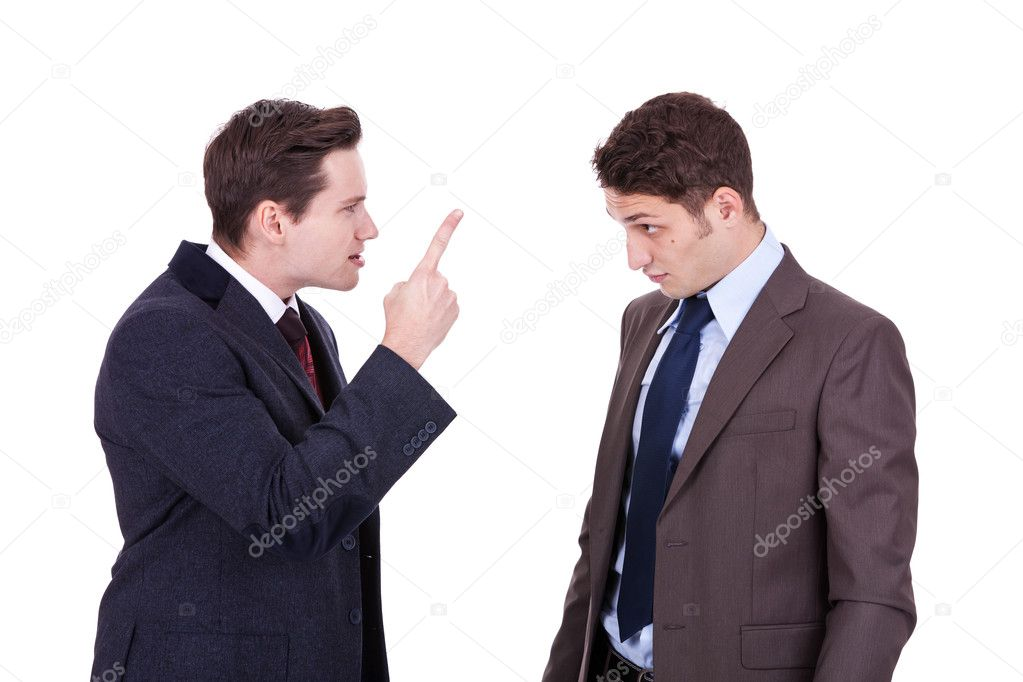 Two young businessmen standing, discussing, arguing - isolated on white — Stock Photo #7511861