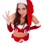 Sexy santa saying that it's all good — Stock Photo
