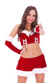 Young santa woman with ok gesture — Stock Photo