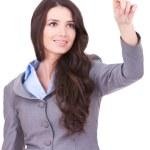 Business woman pushing imaginary screen — Stock Photo