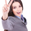 Business  woman showing victory sign — Stock Photo #7692714