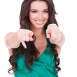 Young female pointing at you — Stock Photo