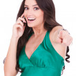 Smiling casual woman talking on mobile — Stock Photo