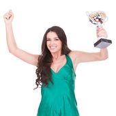 Mujer mostrando su gran trofeo — Foto de Stock