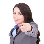 Business woman pointing her finger — Stock Photo