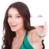 Female holding credit card — Stock Photo