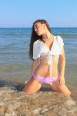 Sexy bikini model having fun — Stock Photo