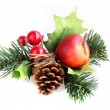 Christmas arrangement with cone and pine branch — Stock Photo