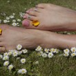Female feet on grass lawn with flowers — Stock Photo #6847184