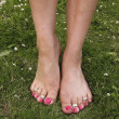 Female feet on grass lawn with flowers — Stock Photo