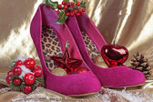 Ladies shoes with christmas decorations — Stock Photo