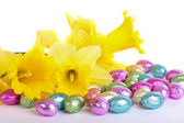 Spring daffodil flowers and easter eggs isolated over white — Stock Photo