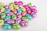 Colorefd easter eggs over white — Stock Photo