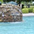 Stock Photo: Inground pool fountains