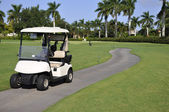 Empty golf cart by golf course — Stockfoto