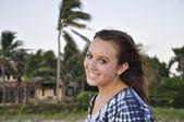 Teenage girl with windblown hair — Stock Photo