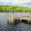 Old wooden boat dock by inlet — Stock Photo #7337543