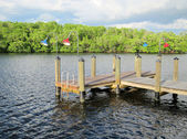 Old wooden boat dock by an inlet — Stock Photo