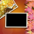 Autumn Leaves and Photo Background — Stock Photo