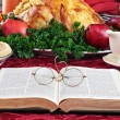 Royalty-Free Stock Photo: Bible and Holiday Dinner