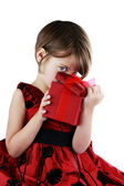 Child Peeking Into Giftbox — Stock Photo