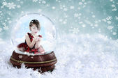 Girl in Snow Globe — Stock Photo