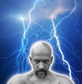 Bald naked man with sinister look in his eyes. — Stock Photo