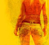 Art grunge background in orange, yellow and red colors — Stock Photo