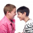 Stock Photo: Two teenage boys laughing like crazy.