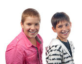 Two handsome teenage boys smiling — Stock Photo