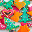 Beautifully decorated pile of cookies on the white plate - 