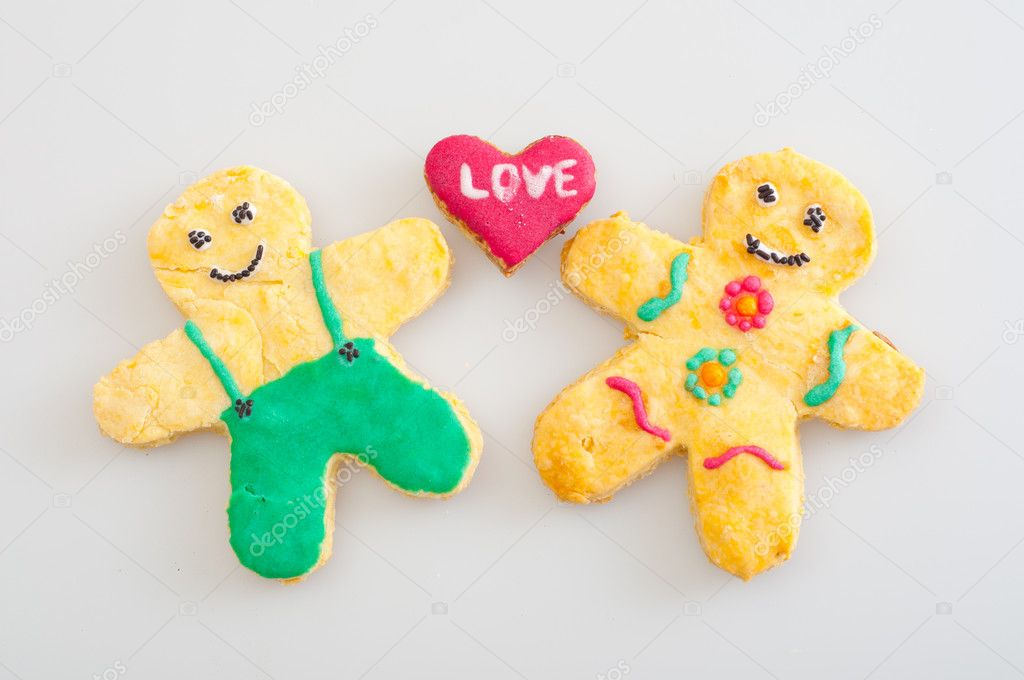 Beautifully decorated cookies representing love between man and women — Stock Photo #7779648