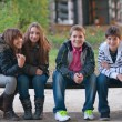 Teenage boys and girls having fun in the park on beautiful autumn day - Stock Photo