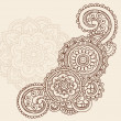 Henna Mehndi Pasiley Flowers Doodles Vector - Stock Vector