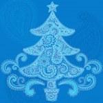 Christmas Tree Henna Mehndi Paisley Doodle Vector — Stock Vector
